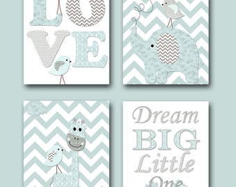 Nursery Quotes Dream Big Little One Baby Shower Gift Baby Boy Nursery Prints Kids Room Decor Childrens Art Print set of 4 Gray Blue