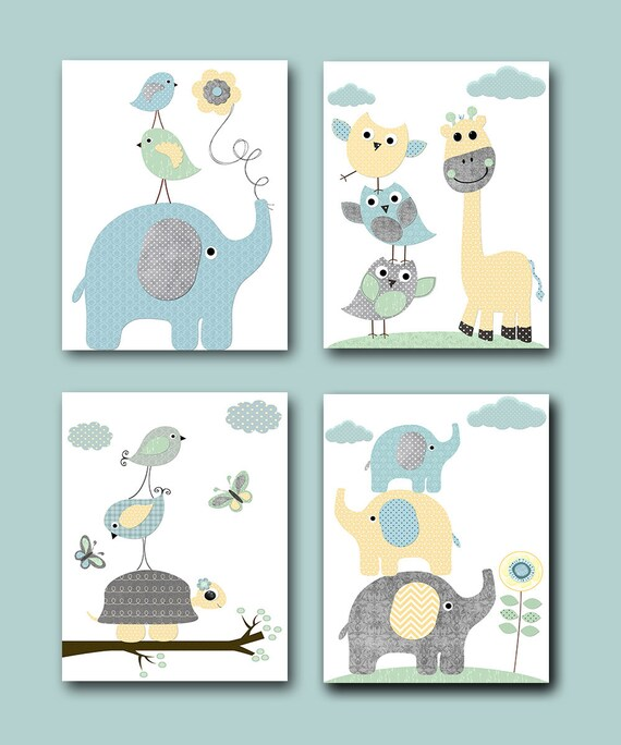 Yellow And Green Kids Room Ideas: Gray Blue Yellow Mint Baby Boy Nursery Prints Kids Art For