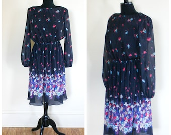 Vintage Black Flowered Dress Pleated Sheer 1970s