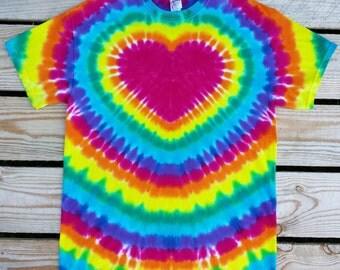 Plus Size Women's Rainbow Heart Tie Dye TShirt,  4XL 5XL 6XL, Women's Tie Dye Shirt, Festival Shirt