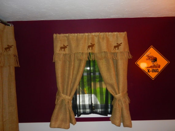 Burlap curtains with valance and tie backs. by CraftyAmour on Etsy