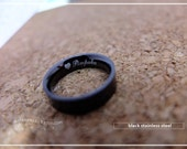 Font 14// Engraved ring // A Classic Unisex of Black Stainless steel Engraved Personalized Name ring.