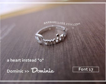 "20% OFF/ Font 17+heart // Personalized name ring - a heart instead "" o "" - custom name ring - heart - ring. Valentine gift, Christmas gift"