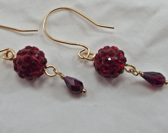 Earrings Dangle Genuine Garnet Gemstones and Deep Red Pave Ball 14KGold filled
