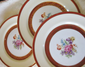 Noritake Salad Plates 1940s Morimura  Set of three Good to very good 1940s stamp link is included in the listing