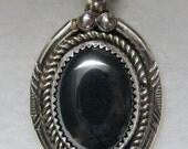 Vintage NAVAJO Signed Harold Trujillo Sterling Silver and HEMATITE Pendant
