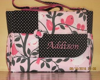 Handmade Pink & Black Bird Print Diaper Bag  Matching Changing Pad Included!