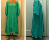 Jade Sundress Aquamarine Green A-Line Cotton House Dress With Below Elbow Sleeves Beach Gauze Cover Up Plus Size Womens
