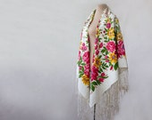 Reserved- Russian scarf, silk blend shawl, tasseled shawl, white shawl, summer floral shawl, tulips, roses and wild flowers, meadow scarf