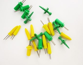 Sweet Corn Season - 22 Corn Picks/Holders  - Collectible - Useful - Corn on the Cob - Green and Yellow Plastic - Different Styles