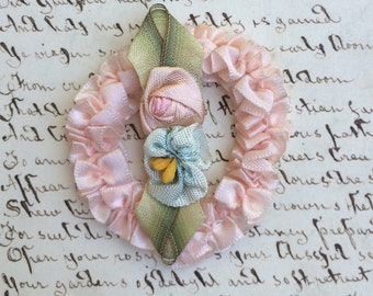 Authentic 2 pc Antique RibbonWork Silk Rose Flowers Charming Wreath and Rosettes with Leaves Beautiful Ribbon Work from the Flapper Era