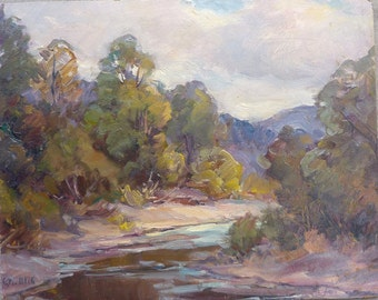 Summer Landscape - Original oil painting by Carl W. Illig, American, creekside 1960s 16x20 stream