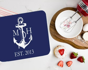 Monogrammed Cutting Board, Personalized Glass Cutting Board, Nautical Cutting Board, Hostess Gift, Anchor Boat Decor