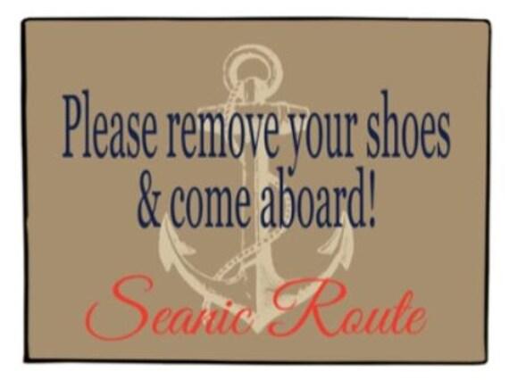 Nautical Doormat Personalized Door Mat Coastal Boat Decor
