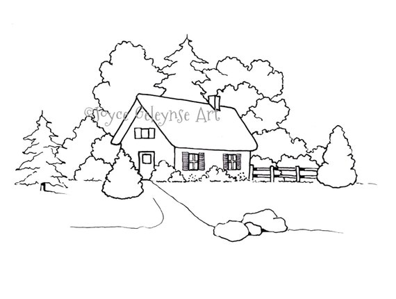 Hand Drawn Coloring Page For Adults Small House Or Cottage With Trees Jpg Png Files Included Commercial UseINSTANT DOWNLOAD