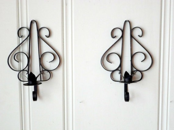 Vintage Wrought Iron Wall Sconce Candle holder Set by metrocottage