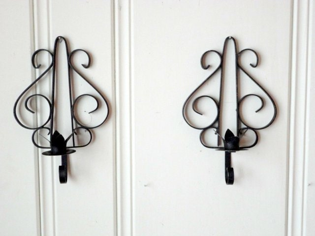 Iron Candle Holder Wall Sconce : Vintage Wrought Iron Wall Sconce Candle holder Set by metrocottage