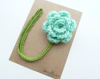 Mint Pacifier Clip--Crochet Flower pacifier clip--Mint--Baby Girl accessories--MAM adapter--Sweetlace Shop