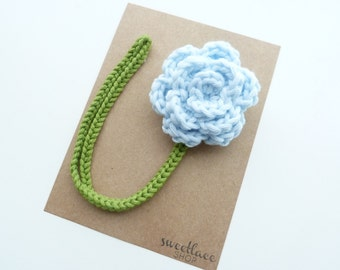 Icy Blue Pacifier Clip--Crochet Flower pacifier clip--Baby Girl accessories--MAM adapter--Sweetlace Shop