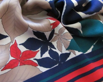"""Large Colorful Floral Italy Soft Poly Scarf 33"""" Square - Affordable Scarves!!!"""