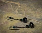 Penny Dreadful Inspired Emerald & Black Crystal Earrings