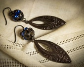 Vintage Assemblage Art Deco Earrings Cobalt Rhinestone Beads