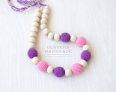 Nursing necklace/ Teething necklace/ Pink Purple Nursing necklace/Babywearing necklace/ Baby Nursing necklace/ Chew necklace