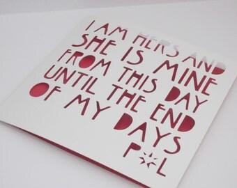Red Wedding / Purple Wedding / Game of Thrones inspired Wedding Papercut Card