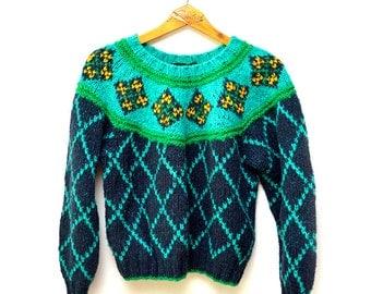 90s Patterned Wool Sweater LizSport Womens Medium