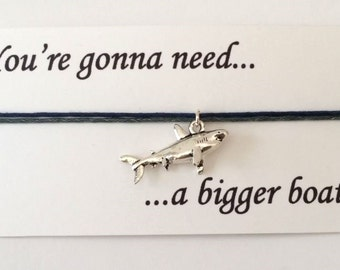 Jaws themed Shark friendship bracelet on waxed cotton cord OR Silver Plated Key Ring OR Silver Plated Necklace