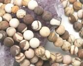 Lot of 5 strands 8mm Matte Brown Zebra Jasper Loose Spacer Beads Round 15.5 inch strand (BD5701)