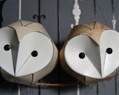 Baby owl pair, unique engagement gift, paper owl, handmade owl sculpture wall art, twin baby gift, twin babies, unique engagement gift