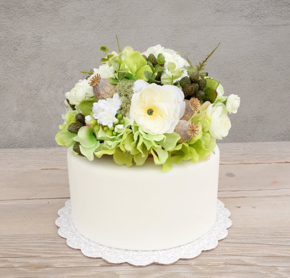 artificial flower wedding cake toppers on woodland wedding cake topper silk flower cake 10843