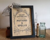 Halloween Apothecary sign, Halloween decor, haunted house prop, witches kitchen, Salem goth, spooky skull, vintage style