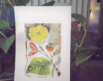 """A yellow flower, original linocut,  hand colored with watercolors, 4""""W x 6""""H, one of a kind"""
