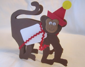 Paper Monkey Zoo Favor Tags, Place Cards, Decorations, Name Cards, Table Tents, Invitations, Baby Shower Place Cards, Escort Card - 12