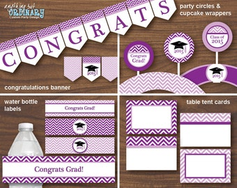 Printable Graduation Party Pack in Purple and White, INSTANT DOWNLOAD, printable digital file