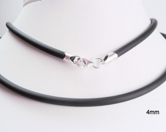 4mm Black Rubber Necklace Sterlng Silver 15, 16, 17, 18, 19, or 20 inch Lobster Clasp Choker