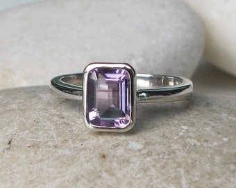 SALE Amethyst Rectangle Ring- Birthstone Ring- Stack Ring- Gemstone Ring- Gifts for Her- Promise Ring- Birthday Gifts- Purple Ring
