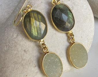 Labradorite Druzy Unique Earring- Two Stone Dangle Earring- Green Drop Earring- Boho Chic Earring-  Long Statement Earring