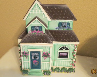 Hand made and painted Victorian Cottage shelf sitter or mantle display with lots of gingerbread trim one of a kind adorable