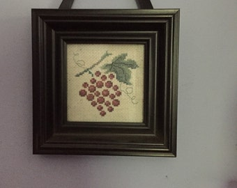 Framed Cross Stitch - Cross Stitch Grapes - Kitchen Art - Purple Grape Vine - Wall Hanging