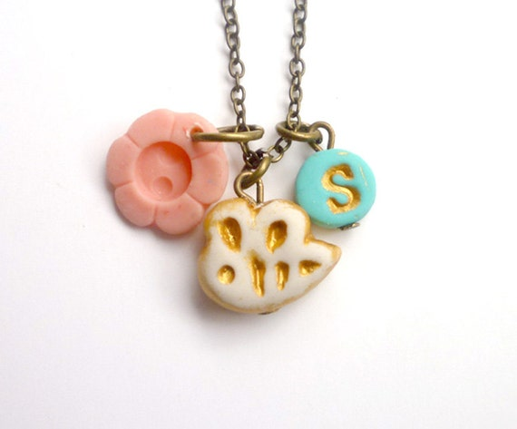 Bee necklace letter jewelry for 3 4 5 6 year old stocking for Jewelry making kit for 4 year old