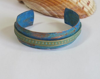 Narrow copper cuff with blue green patina, organic, boho, hippie, mid-century, Lost Marbles Jewelry