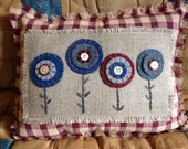 Americana Penny Rug Flower Pillow, Patriotic Pillow, Red White and Blue, Throw Pillow, Decorative Pillow, OFG, FAAP, Penny Rug Pillow