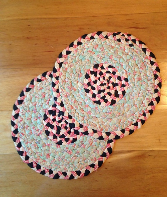 Set Of Authentic Antique Hand Braided Rug Chair Pads By