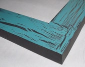 One 16x20 Made to Order Picture Frame ~ Flat Profile ~ Crackle Finish ~ Hand painted ~ Teal Zeal Over Black ~ Black outer Edge