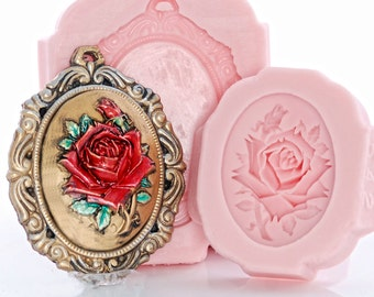 Silicone Molds Rose Cameo and Cameo Mount Mold Set - Jewelry Resin Sculpey Fimo Metal Epoxy Wood Clay Wax - Food Safe Fondant Chocolate (266