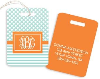 Polka Dot Stripe // Personalized // Monogram // Luggage or Backpack Tag