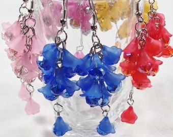 Flower Bouquet Earrings With Drop Blossom in 5 Colors Handmade Jewellery by NorthCoastCottage Jewelry Design & Vintage Treasures